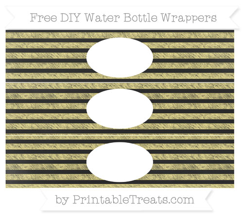 Free Pastel Yellow Horizontal Striped Chalk Style DIY Water Bottle Wrappers
