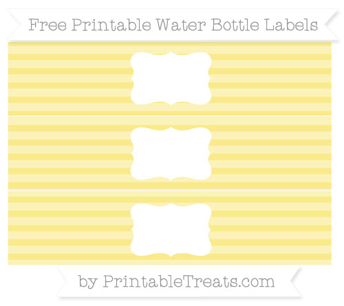 Free Pastel Yellow Horizontal Striped Water Bottle Labels