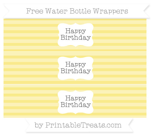 Free Pastel Yellow Horizontal Striped Happy Birhtday Water Bottle Wrappers