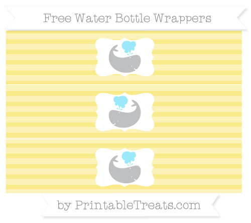 Free Pastel Yellow Horizontal Striped Whale Water Bottle Wrappers