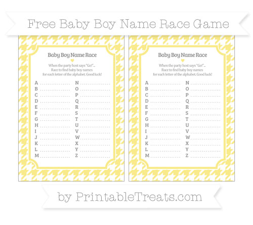 Free Pastel Yellow Houndstooth Pattern Baby Boy Name Race Game