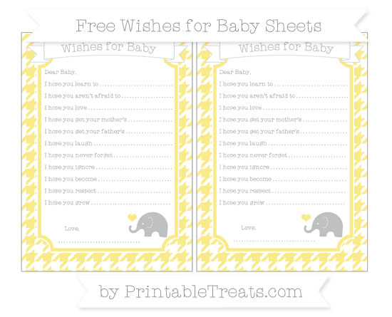 Free Pastel Yellow Houndstooth Pattern Baby Elephant Wishes for Baby Sheets