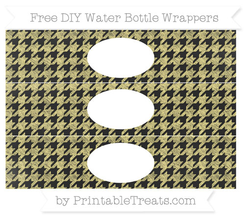 Free Pastel Yellow Houndstooth Pattern Chalk Style DIY Water Bottle Wrappers