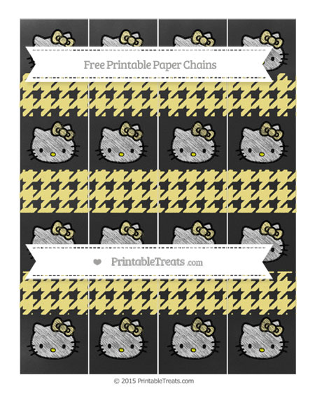 Free Pastel Yellow Houndstooth Pattern Chalk Style Hello Kitty Paper Chains