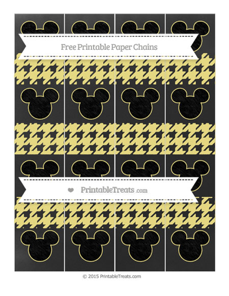 Free Pastel Yellow Houndstooth Pattern Chalk Style Mickey Mouse Paper Chains