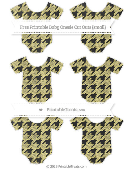Free Pastel Yellow Houndstooth Pattern Chalk Style Small Baby Onesie Cut Outs