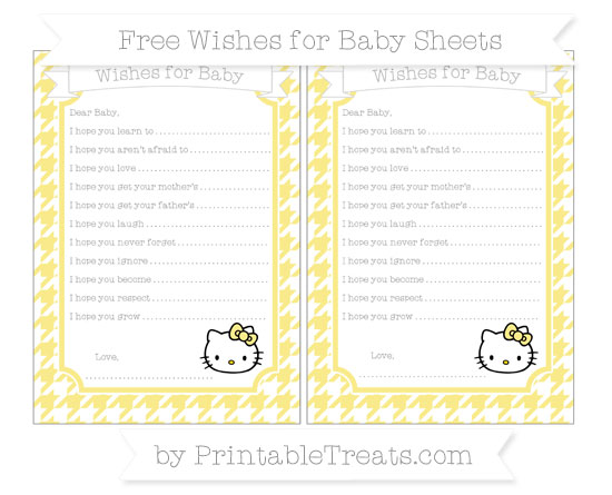 Free Pastel Yellow Houndstooth Pattern Hello Kitty Wishes for Baby Sheets