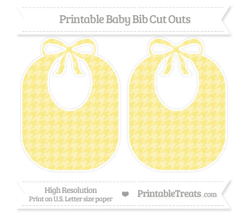 Free Pastel Yellow Houndstooth Pattern Large Baby Bib Cut Outs