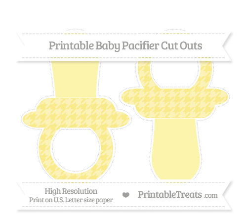 Free Pastel Yellow Houndstooth Pattern Large Baby Pacifier Cut Outs