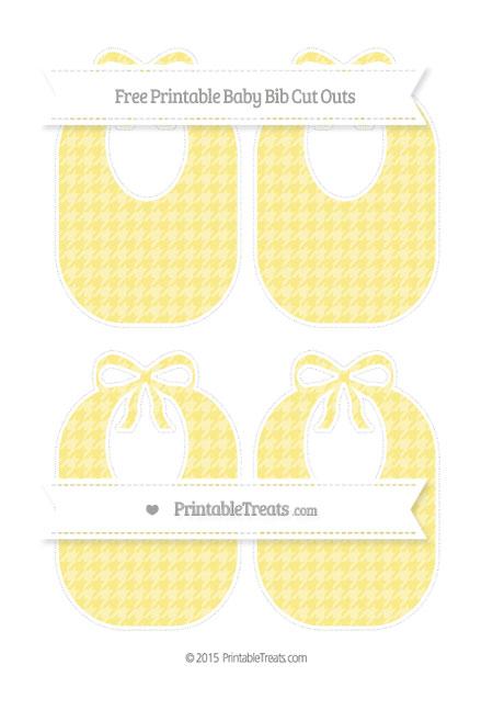 Free Pastel Yellow Houndstooth Pattern Medium Baby Bib Cut Outs