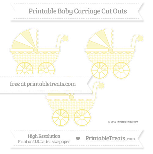 Free Pastel Yellow Houndstooth Pattern Medium Baby Carriage Cut Outs