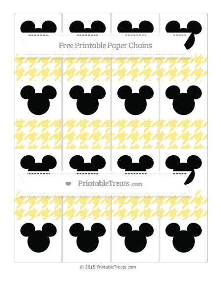 Free Pastel Yellow Houndstooth Pattern Mickey Mouse Paper Chains