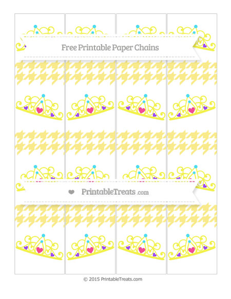 Free Pastel Yellow Houndstooth Pattern Princess Tiara Paper Chains