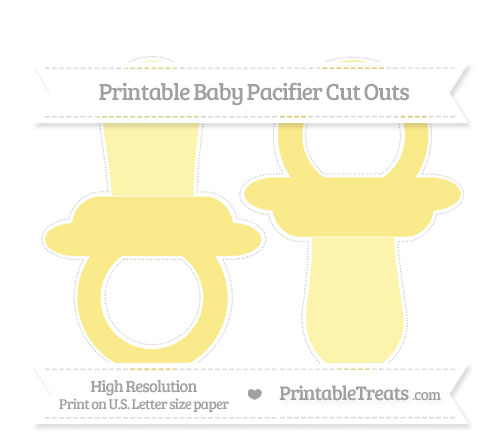 Free Pastel Yellow Large Baby Pacifier Cut Outs