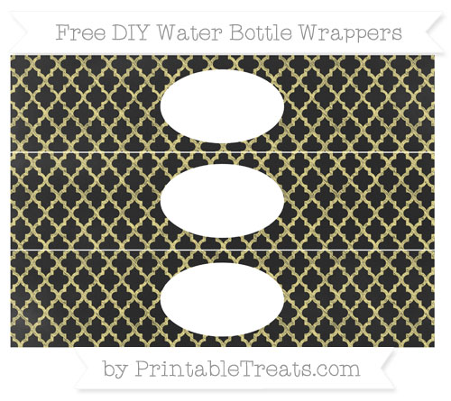 Free Pastel Yellow Moroccan Tile Chalk Style DIY Water Bottle Wrappers