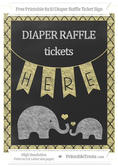 Free Pastel Yellow Moroccan Tile Chalk Style Elephant 8x10 Diaper Raffle Ticket Sign