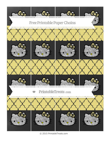 Free Pastel Yellow Moroccan Tile Chalk Style Hello Kitty Paper Chains