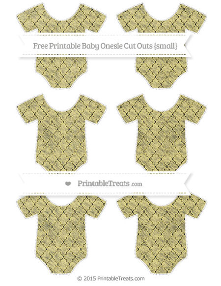 Free Pastel Yellow Moroccan Tile Chalk Style Small Baby Onesie Cut Outs