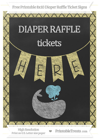 Free Pastel Yellow Moroccan Tile Chalk Style Whale 8x10 Diaper Raffle Ticket Sign
