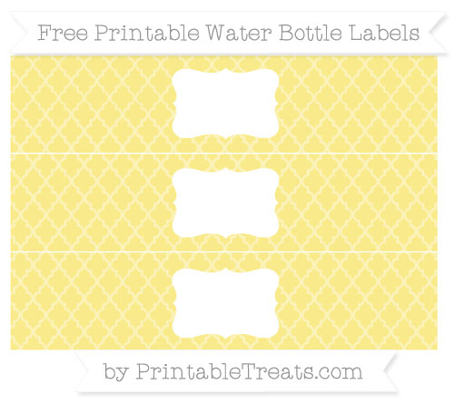 Free Pastel Yellow Moroccan Tile Water Bottle Labels
