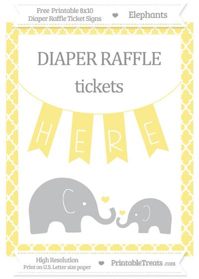 Free Pastel Yellow Moroccan Tile Elephant 8x10 Diaper Raffle Ticket Sign