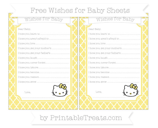 Free Pastel Yellow Moroccan Tile Hello Kitty Wishes for Baby Sheets