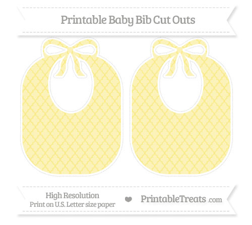 Free Pastel Yellow Moroccan Tile Large Baby Bib Cut Outs