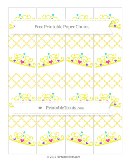 Free Pastel Yellow Moroccan Tile Princess Tiara Paper Chains