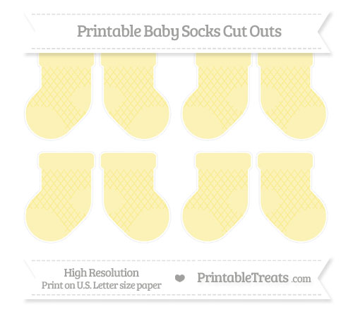 Free Pastel Yellow Moroccan Tile Small Baby Socks Cut Outs