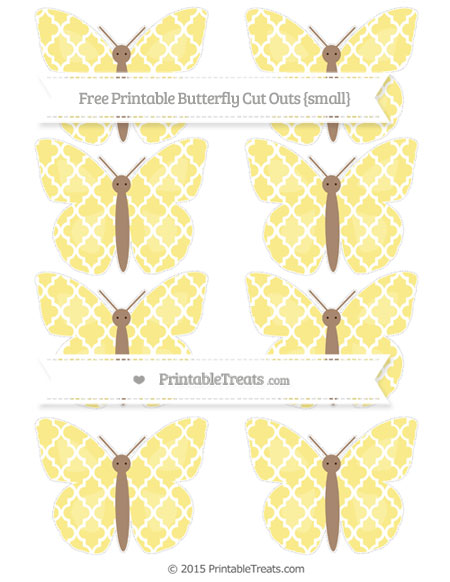 Free Pastel Yellow Moroccan Tile Small Butterfly Cut Outs
