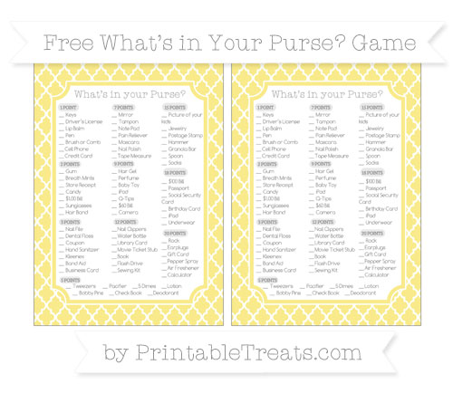 Free Pastel Yellow Moroccan Tile What's in Your Purse Baby Shower Game