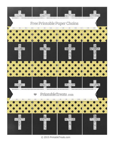 Free Pastel Yellow Polka Dot Chalk Style Cross Paper Chains