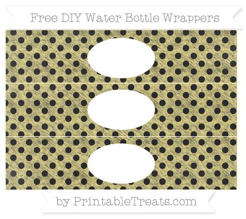 Free Pastel Yellow Polka Dot Chalk Style DIY Water Bottle Wrappers