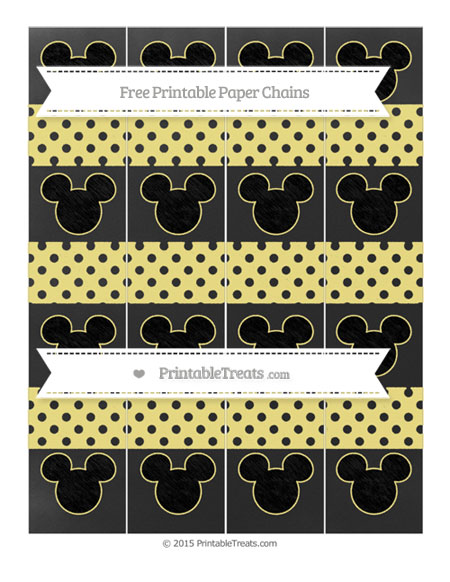 Free Pastel Yellow Polka Dot Chalk Style Mickey Mouse Paper Chains