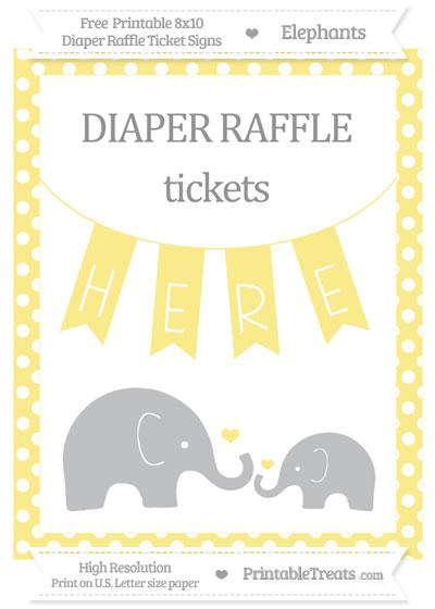 Free Pastel Yellow Polka Dot Elephant 8x10 Diaper Raffle Ticket Sign