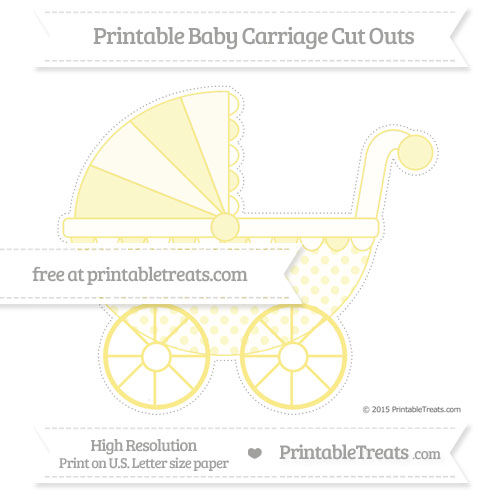 Free Pastel Yellow Polka Dot Extra Large Baby Carriage Cut Outs