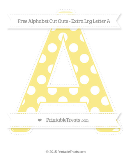 Free Pastel Yellow Polka Dot Extra Large Capital Letter A Cut Outs