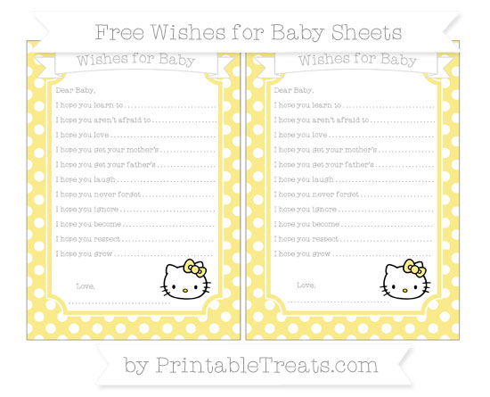 Free Pastel Yellow Polka Dot Hello Kitty Wishes for Baby Sheets