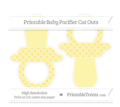Free Pastel Yellow Polka Dot Large Baby Pacifier Cut Outs