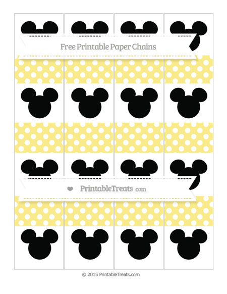 Free Pastel Yellow Polka Dot Mickey Mouse Paper Chains