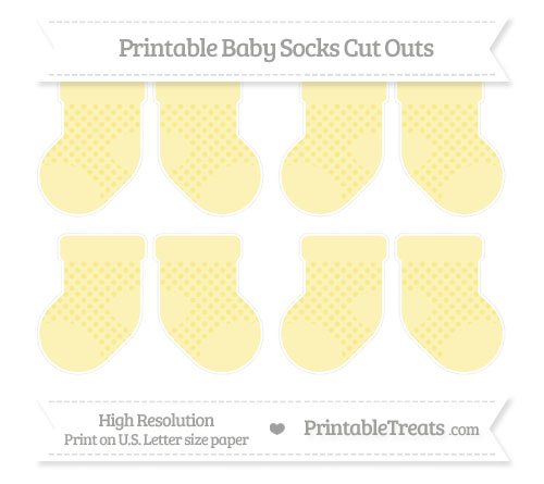Free Pastel Yellow Polka Dot Small Baby Socks Cut Outs