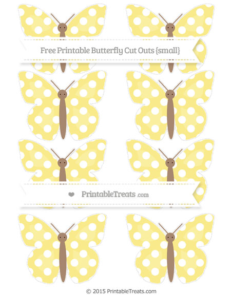 Free Pastel Yellow Polka Dot Small Butterfly Cut Outs