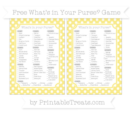 Free Pastel Yellow Polka Dot What's in Your Purse Baby Shower Game
