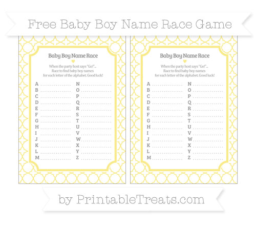 Free Pastel Yellow Quatrefoil Pattern Baby Boy Name Race Game