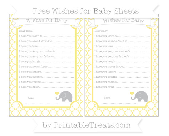 Free Pastel Yellow Quatrefoil Pattern Baby Elephant Wishes for Baby Sheets