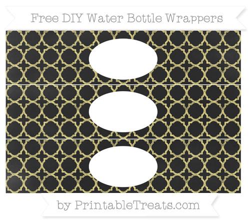 Free Pastel Yellow Quatrefoil Pattern Chalk Style DIY Water Bottle Wrappers