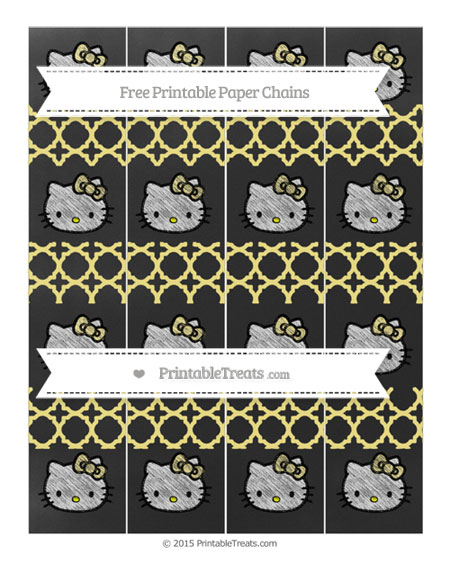 Free Pastel Yellow Quatrefoil Pattern Chalk Style Hello Kitty Paper Chains