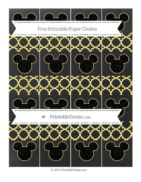 Free Pastel Yellow Quatrefoil Pattern Chalk Style Mickey Mouse Paper Chains