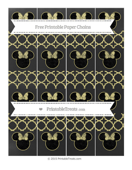 Free Pastel Yellow Quatrefoil Pattern Chalk Style Minnie Mouse Paper Chains