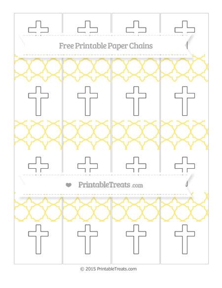 Free Pastel Yellow Quatrefoil Pattern Cross Paper Chains